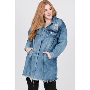 Plus size denim distressed jean jacket